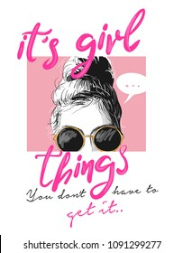 girl slogan with girl illustration