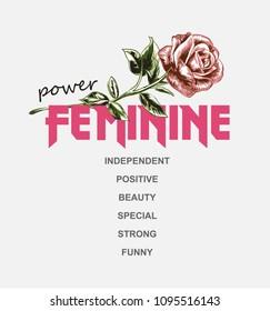 girl slogan with rose illustration