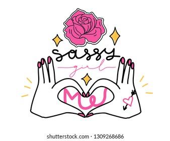 "Girl slogan for t shirt. Modern beautiful print for girls. Vector illustration. Creative typography slogan design. Sign ""SASSY GIRL""."