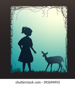 girl and small deer  silhouette, forest story,  vector