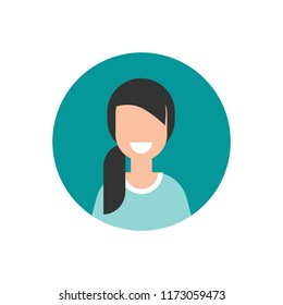 girl with smile avatar. cute happy woman face flat icon in blue circle isolated on white. person character, user, operator, account. consulting, job online, internet. Call center. help line.