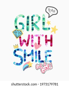 girl with smile colorful sequins slogan with cute icons vector illustration