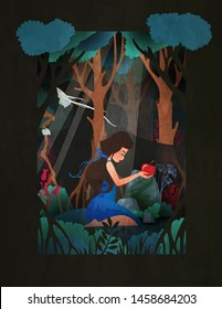Girl in Snow White costume sitting in front of forest with red apple. Fairy tale vector illustration