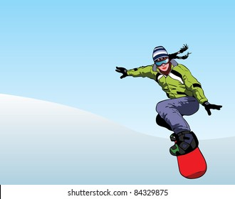 Girl snowboarder downhill vector image