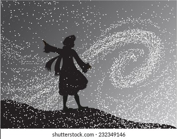 girl in the snowfall looking at the snow swirl, Gerda, fairytale The Snow Queen, shadows
