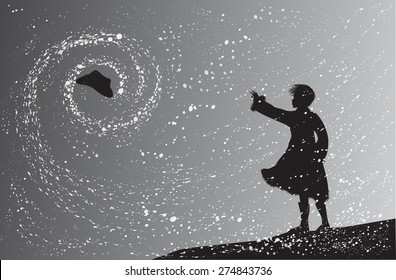 girl in the snowfall try to catch the flying hat in the snow swirl. blizzard and snow swirl, shadows