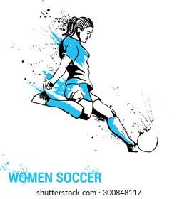 girl soccer player kicking ball. Women soccer