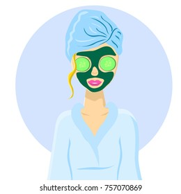 Girl at the spa salon with cucumbers on the eyes and with a mask. Relax. Vector illustration.
