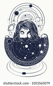 Girl and space, goodnes woman and galaxy t-shirt design. Symbol of magic, esoterics, astrology
