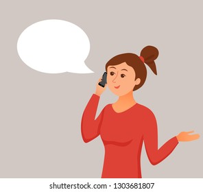 Girl speaking using her smartphone holding in her hand. Woman with pretty young face has a talk colorful cartoon style vector illustration. Business concept of manager of call center.
