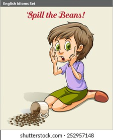 A girl spilling the beans idiom