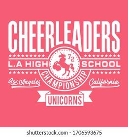 Girl sport cheerleaders  typography, tee shirt graphics, vectors