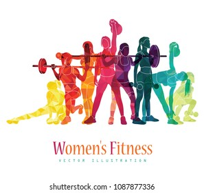 Girl sport. Girl fitness, gym, body-building, workout, powerlifting, crossfit. Healthy lifestyle. Vector illustration