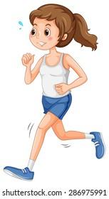 Girl in sportswear jogging alone