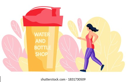 Girl in sportswear jogging alone, against the background of large leaves and a plastic glass with an inscription water and bottle shop. Slender woman running, goes in for sports does cardio exercise