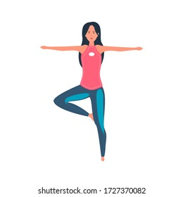 girl in sportswear. Yoga, pilates, stretching, training exercises flat color vector illustration. Cartoon character on an isolated white background.