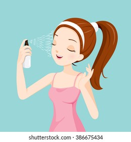 Girl Spraying Mineral Water On Her Face, Treatment, Skin, Beauty, Cosmetic, Makeup, Healthy, Lifestyle