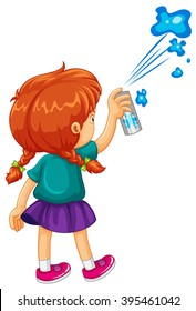 Girl spraying the wall blue illustration