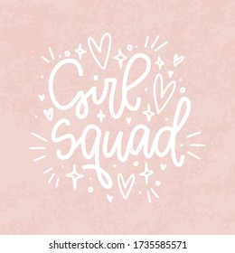 Girl squad vector t-shirt iron on design with isolated text and vintage pink background. Female friendship quote with heart and star filling images.
