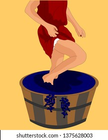 The girl squeezes the grapes