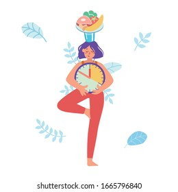 Girl stand balanced in  tree pose, holding glass of water and plate with healthy food on her head, and clock in her hands. Waiting for time to eat. Intermittent fasting. Yoga. Patience. Balance
