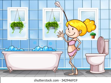 Girl standing in the bathroom illustration