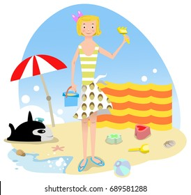 Girl standing at beach, holding rake and bucket; inflatable fish, sand mold, parasol and windscreen in background (vector illustration)