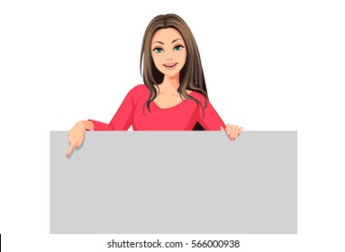 Girl standing behind the board