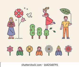 A girl standing next to a big flower and holding a flower pot. A girl climbing up a tree, a boy wearing a large leaf umbrella. flat design style minimal vector illustration.