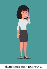 A girl is standing on the phone. Vector illustration. Suitable for animation (individual segments)