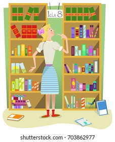 Girl standing in public library, looking at shelves filled with lots of books (flat color illustration)