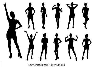 Girl standing in various poses, set of vector silhouettes.