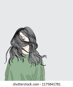 The girl stands outside her sad.The long hair of a girl blows in the wind.Doodle art concept,illustration painting