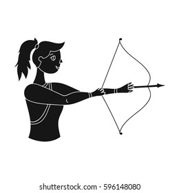 A girl stands in profile and holds the bow.Shooting a bow at a target.active sports single icon in black style vector symbol stock illustration.