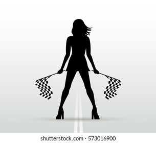 Girl with start flags. Auto racing. Vector black silhouette.