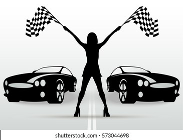 Girl with start flags and racing cars. Vector black silhouette. Auto racing.