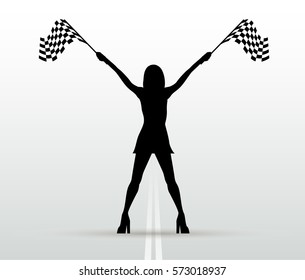 Girl with start flags. Vector black silhouette. Auto racing.