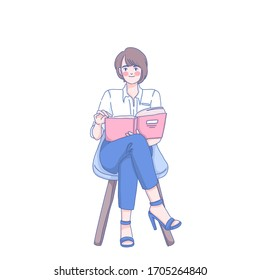 Girl staying at home alone character design of vector. Reading book.