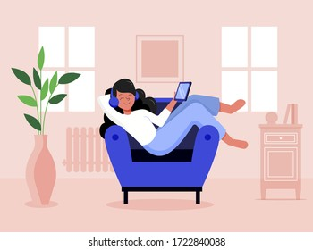 Girl staying at home chilling