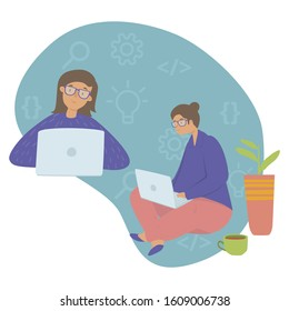 Girl in STEM flat vector illustration. E-learning, Girls in exact sciences, gender equality and stereotypes, Stem education concept. Girl programmer with a laptop, writing code, developing software