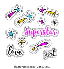 Girl stickers: stars, firework, superstar logo, love lettering. Retro fashionable patch element 80s-90s, Vector doodle illustration