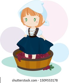 Girl Stomping Grapes on Wooden Barrel