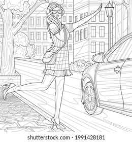 The girl stops the car.Coloring book antistress for children and adults. Illustration isolated on white background.Zen-tangle style. Hand draw