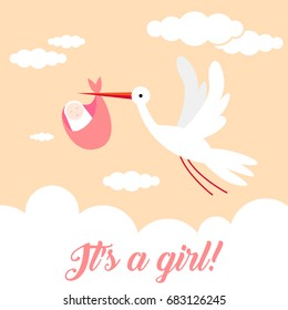 It's a girl! Stork bird animal character flying through the sky holding a newborn baby. Classic myth of stork bird delivering a new born baby
