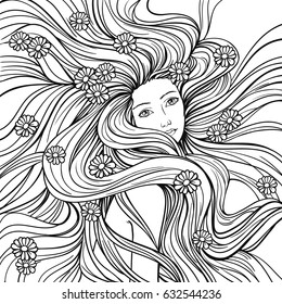 Girl with streaming hair and flowers, linen  hand drawn vector illustration for coloring book.