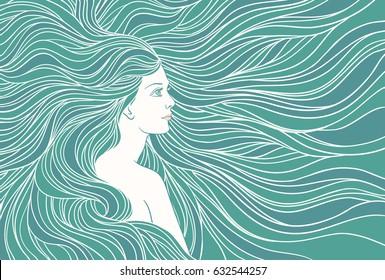 Girl with streaming hair, mermaid underwater, hand drawn vector linen illustration.