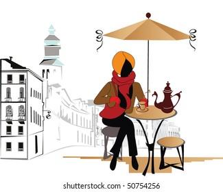 Girl in the street cafe