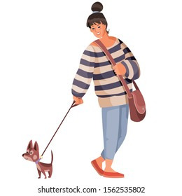 girl in a striped sweater, walks with her dog on a leash, isolated object on a white background, vector illustration