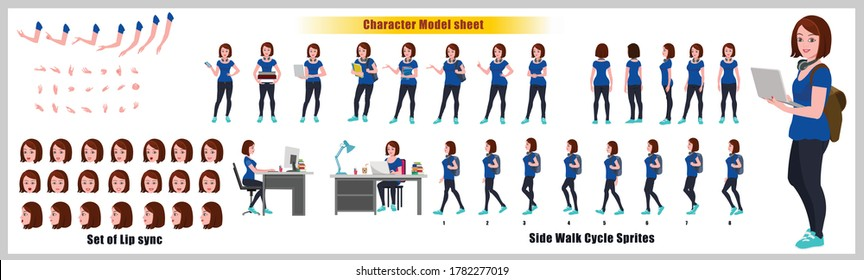 Girl Student Character Design Model Sheet with walk cycle animation. Girl Character design. Front, side, back view and explainer animation poses. Character set with various views and lip sync