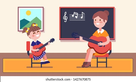 Girl student guitarist learning to play guitar at music class in room with school blackboard. Smiling teacher woman playing guitar, providing music education & teaching child. Flat vector illustration